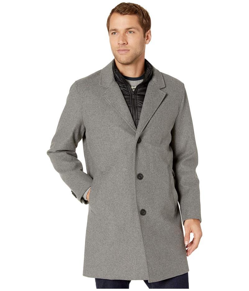 コールハーン メンズ コート アウター Laminated Wool Buttoned Coat w/ Lapel Collar Light Grey