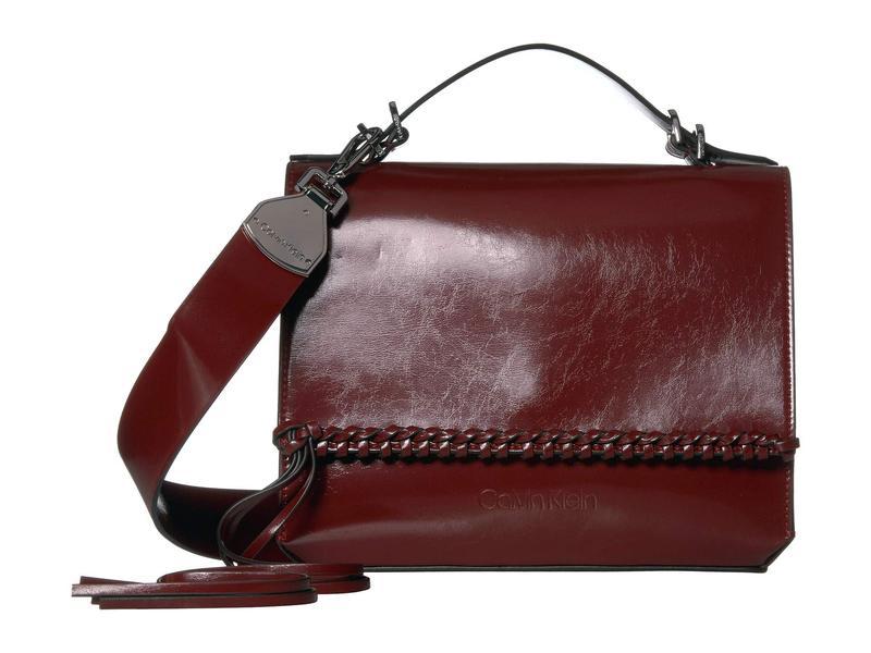 カルバンクライン レディース ハンドバッグ バッグ Fringe Glazed Patent Shoulder Bag Country Red