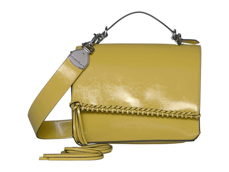 カルバンクライン レディース ハンドバッグ バッグ Fringe Glazed Patent Shoulder Bag Yellowmy8wOPvnN0