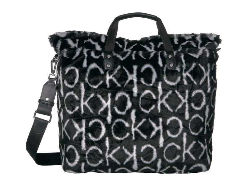 カルバンクライン レディース ハンドバッグ バッグ Elise Embroidered Sherpa Tote Black/White/Black