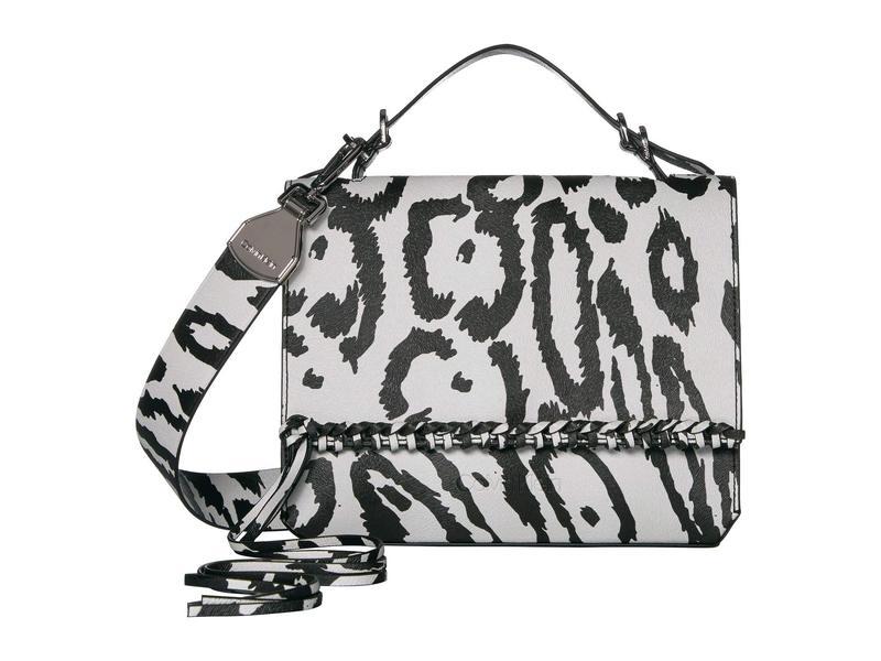 カルバンクライン レディース ハンドバッグ バッグ Fringe Printed Leopard Shoulder Bag White/Black