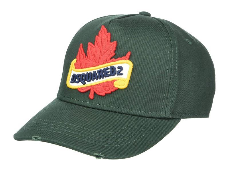 送料無料 サイズ交換無料 ディースクエアード メンズ アクセサリー 帽子 Green ディースクエアード メンズ 帽子 アクセサリー Branded Maple Leaf Baseball Cap Green