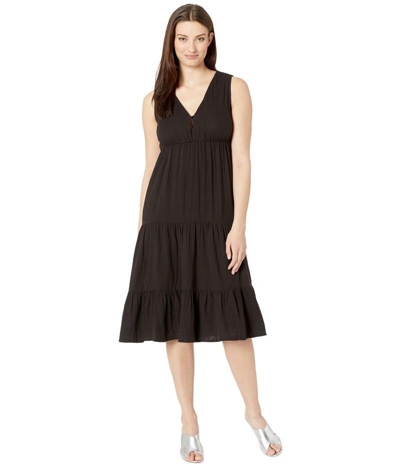 エリオットローレン レディース ワンピース トップス Gauze Sleeveless Tiered Long Dress Black