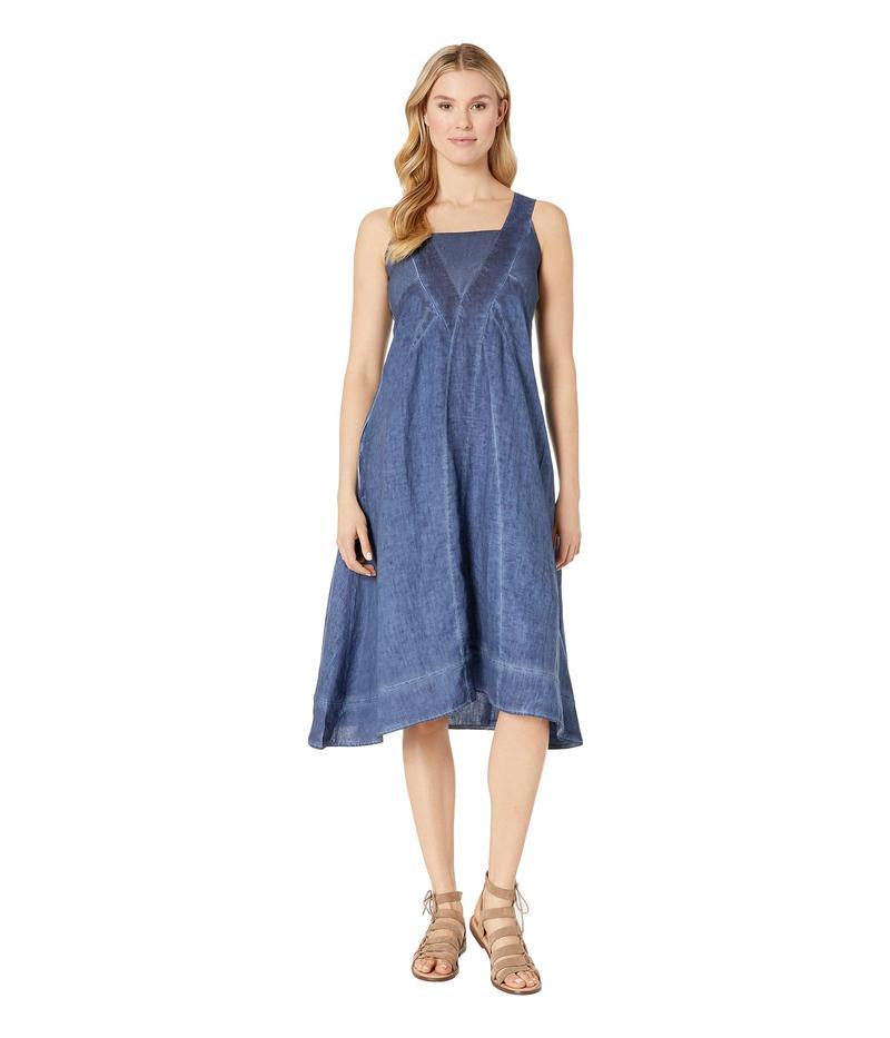 エリオットローレン レディース ワンピース トップス Stone Wash Linen Long Dress with Seam Detail Indigo