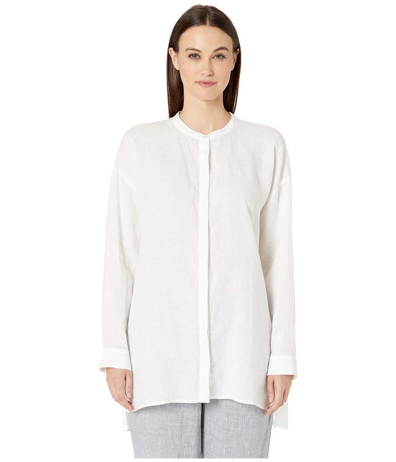 エイリーンフィッシャー レディース シャツ トップス Organic Handkerchief Linen Mandarin Collar Boxy Shirt White