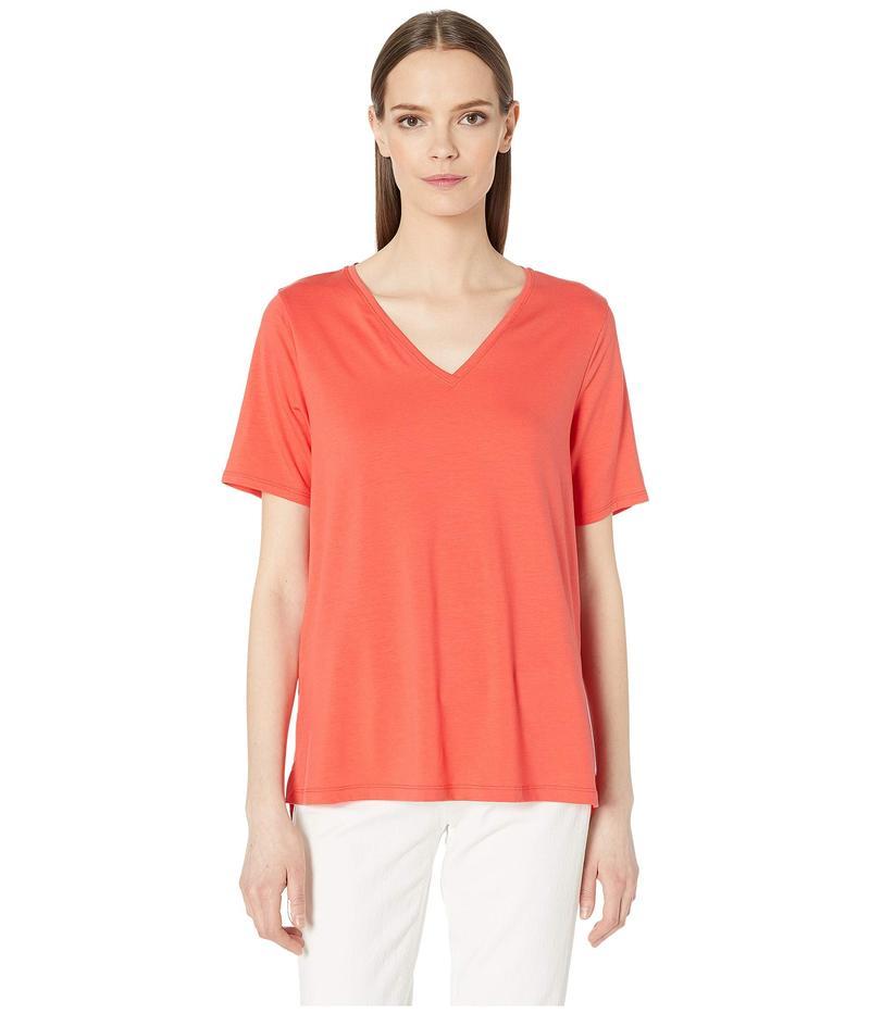 エイリーンフィッシャー レディース シャツ トップス Tencel Jersey V-Neck Short Sleeve Top Red Lory