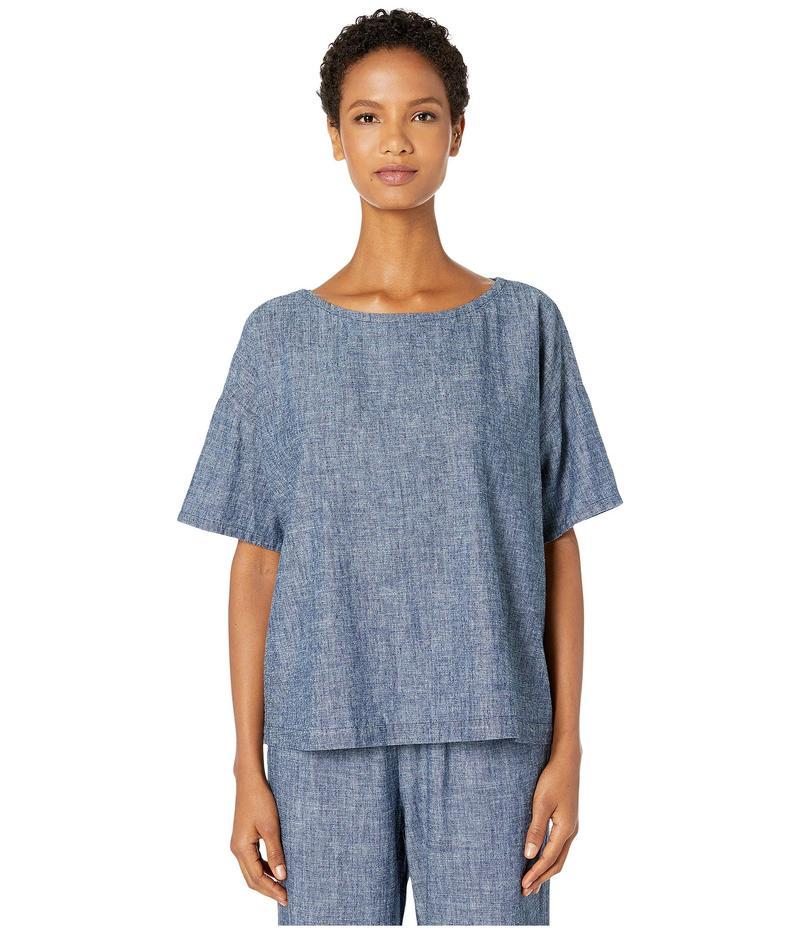 エイリーンフィッシャー レディース シャツ トップス Hemp & Organic Cotton Chambray Ballet Neck Short Sleeve Box-Top Denim