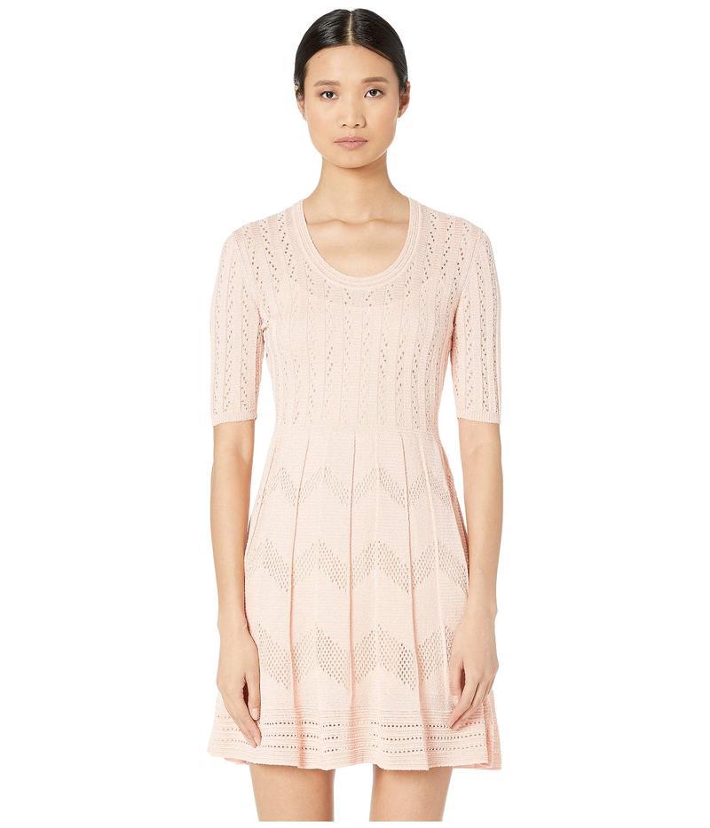 エム ミッソーニ レディース ワンピース トップス Short Sleeve U Neck Short Dress in Zigzag Stitch Soft PinkhrdtsQC