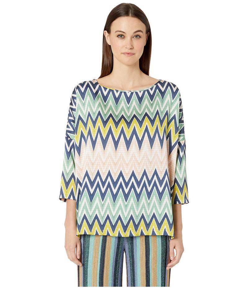 エム ミッソーニ レディース シャツ トップス Boat Neck 3/4 Sleeve Silk Top in Zigzag Print Multi