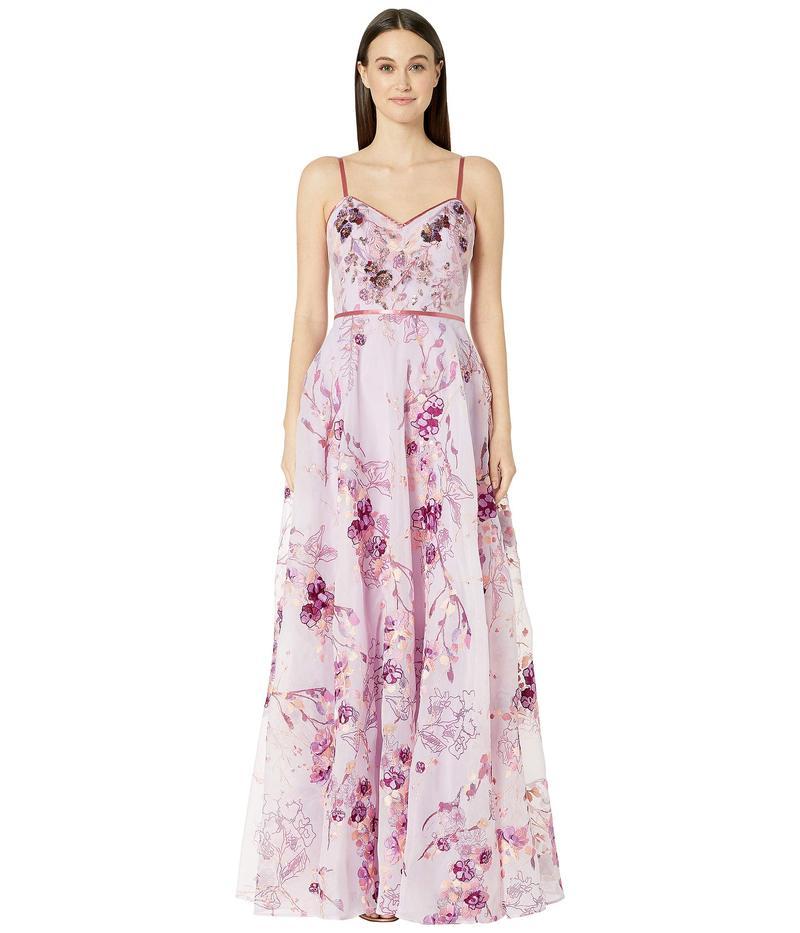 マルケサノット レディース ワンピース トップス Sleeveless V-Neck Printed Organza Gown Lilac