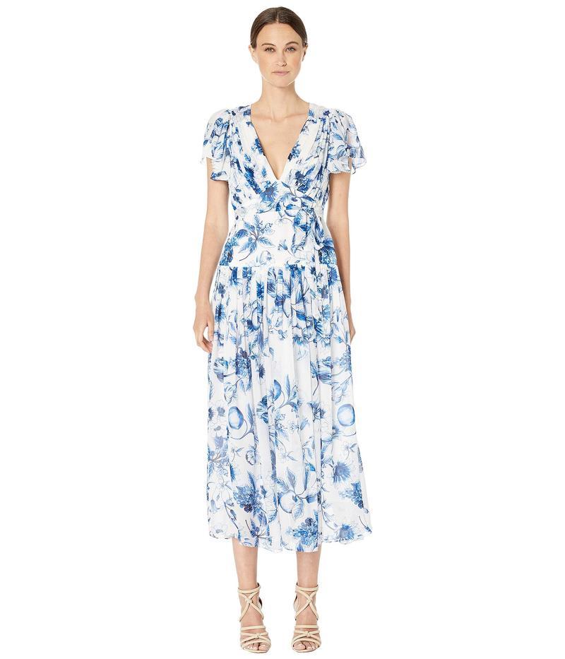 モニーク ルイリエ レディース ワンピース トップス Pleated Midi Dress Blue Multi