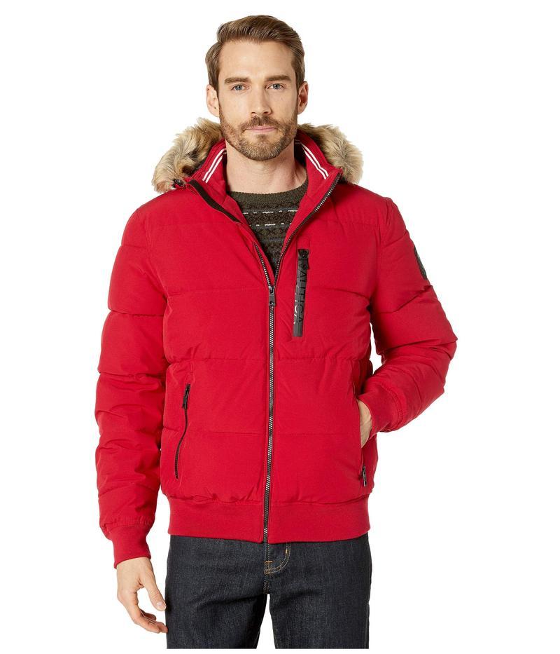 ナウティカ メンズ コート アウター Hooded Bomber Puffer w/ Removable Faux Fur Hood & Logo Pockets Nautica Red