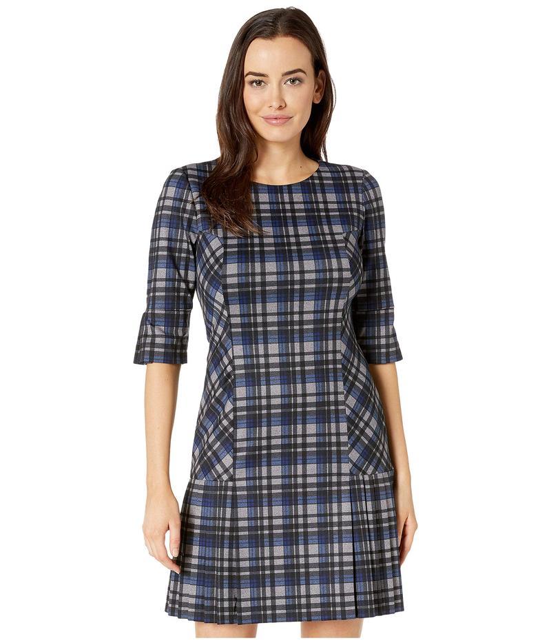 タハリ レディース ワンピース トップス Dress with Pleated Skirt and Elbow Sleeve Grey/Blue/Black
