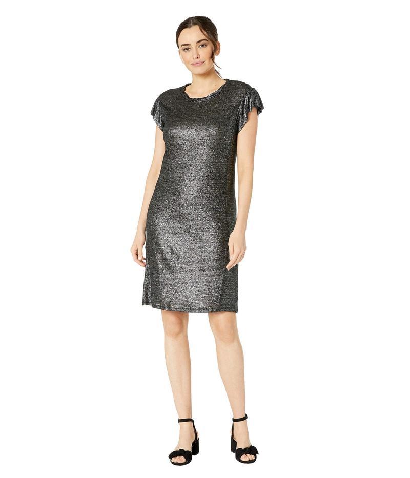 マイケルコース レディース ワンピース トップス Linen Ruffle Dress Black/Silver