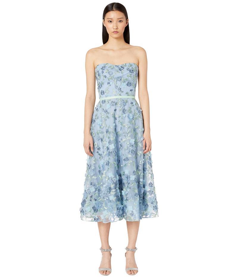 マルケサノット レディース ワンピース トップス Strapless Embroidered Tea Length Gown Light Blue