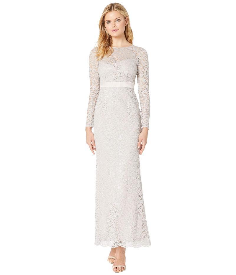 アドリアナ パペル レディース ワンピース トップス Lace Long Sleeve Evening Gown Icy Lilac
