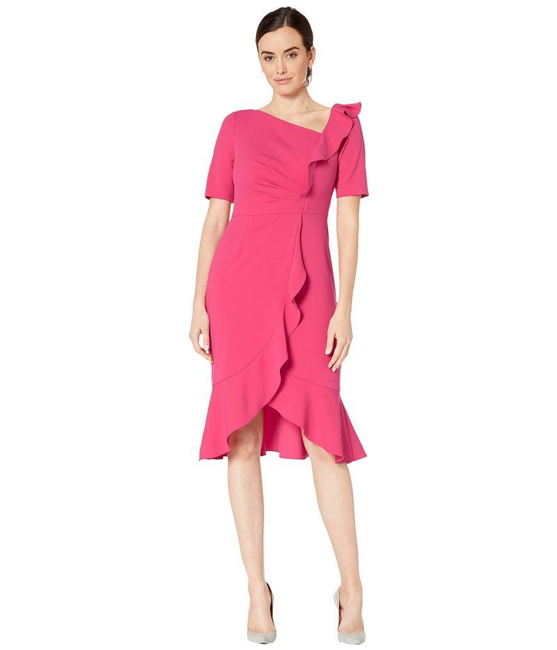 アドリアナ パペル レディース ワンピース トップス Draped Short Crepe Dress with Elbow Sleeves Geranium