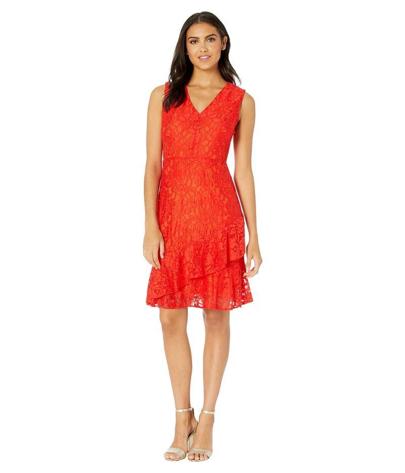 サムエデルマン レディース ワンピース トップス Ruffle Tiered Lace Dress Orange