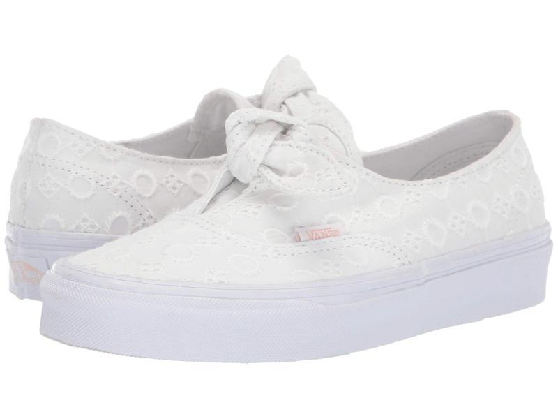 バンズ メンズ スニーカー シューズ Authentic Knotted (Cotton Lace) True White/True White