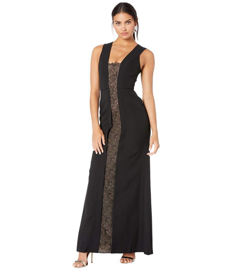 ビーシービージーマックスアズリア レディース ワンピース トップス Satin Gown with Lace Inset Black