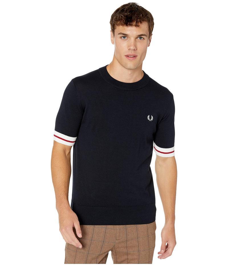 フレッドペリー メンズ シャツ トップス Contrast Trim Knitted T-Shirt Navy