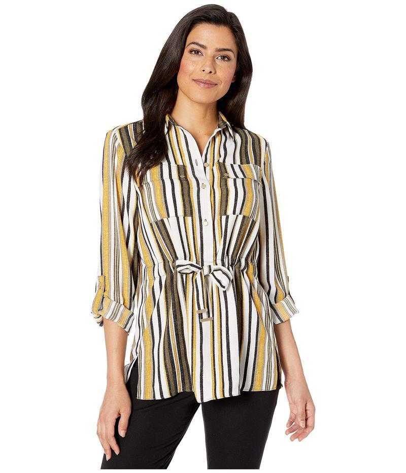 ジョーンズニューヨーク レディース シャツ トップス Pleated Roll Tab Sleeve Shirt Ochre Stripe