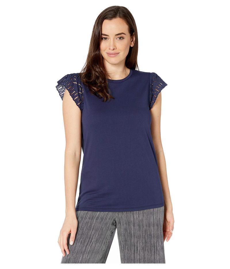 マイケルコース レディース シャツ トップス Lace Sleeve T-Shirt True Navy