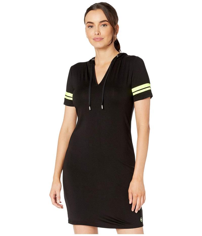 マイケルコース レディース ワンピース トップス Stripe Sleeve Hoodie Dress Black/Neon Yellow