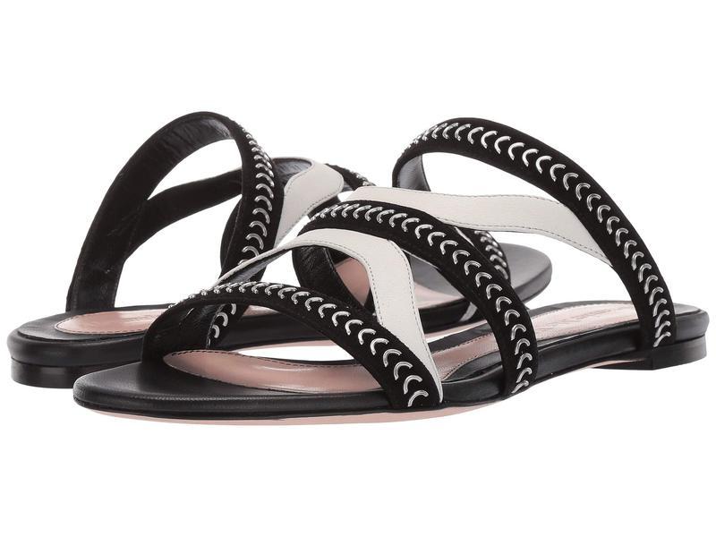 アレキサンダー・マックイーン レディース サンダル シューズ Flat Leather Sandal Slide Black/Ivory/Silver