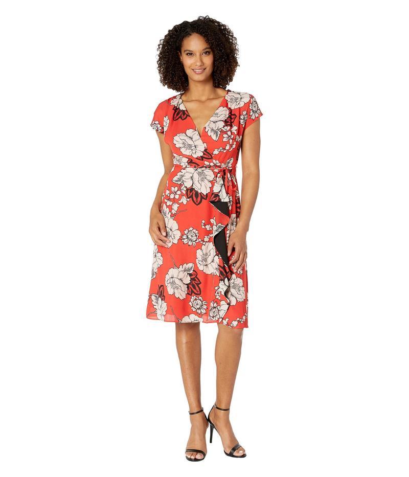 アドリアナ パペル レディース ワンピース トップス Faux Wrap Paisley Floral Dress with Drape Red Multi