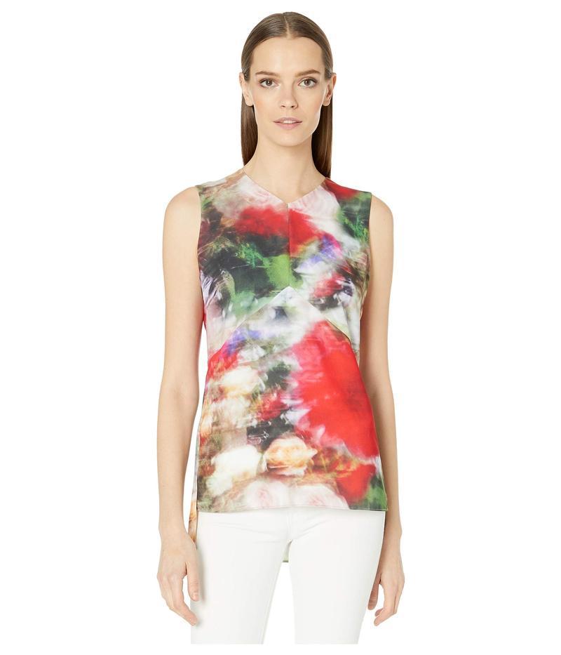 アダム リピズ レディース シャツ トップス Printed Hammered Silk V-Neck Shell Blouse Multi Floral