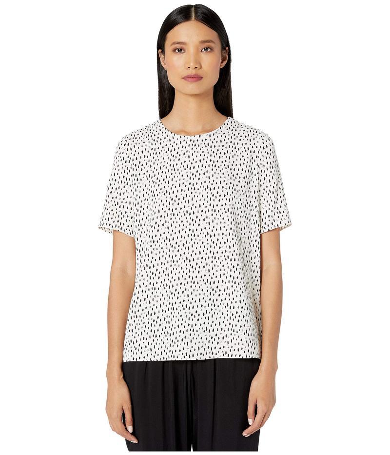 アダム リピズ レディース シャツ トップス Printed Crepe T-Shirt Ivory/Black