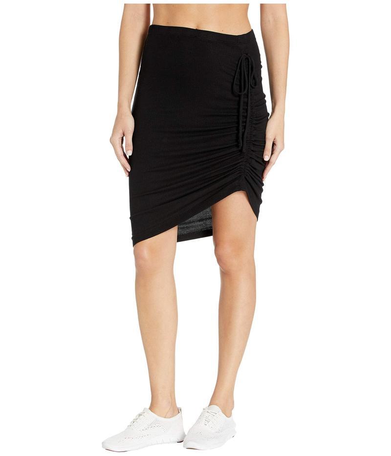 スプレンディット レディース スカート ボトムス Ribbed Asymmetrical Knit Skirt Black