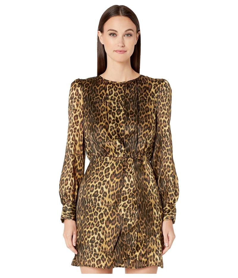 ザ・クープルス レディース ワンピース トップス Asymmetrical, Short Dress with Balloon Sleeves, Side Slit and Tie at Waist Leopard