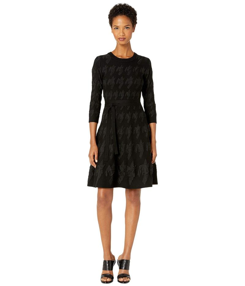 イーガルアズロベル レディース ワンピース トップス Houndstooth Intarsia Viscose Fit and Flare Dress Black