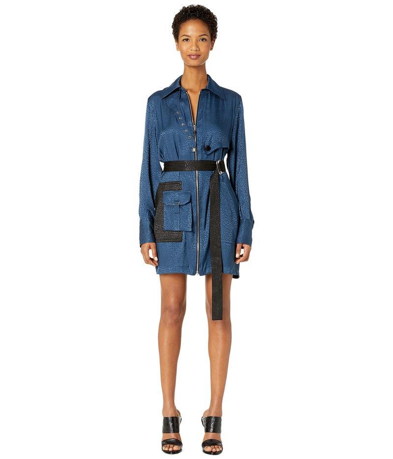 イーガルアズロベル レディース ワンピース トップス Poly Rayon Jacquard Trench Shirtdress Blue/Ink