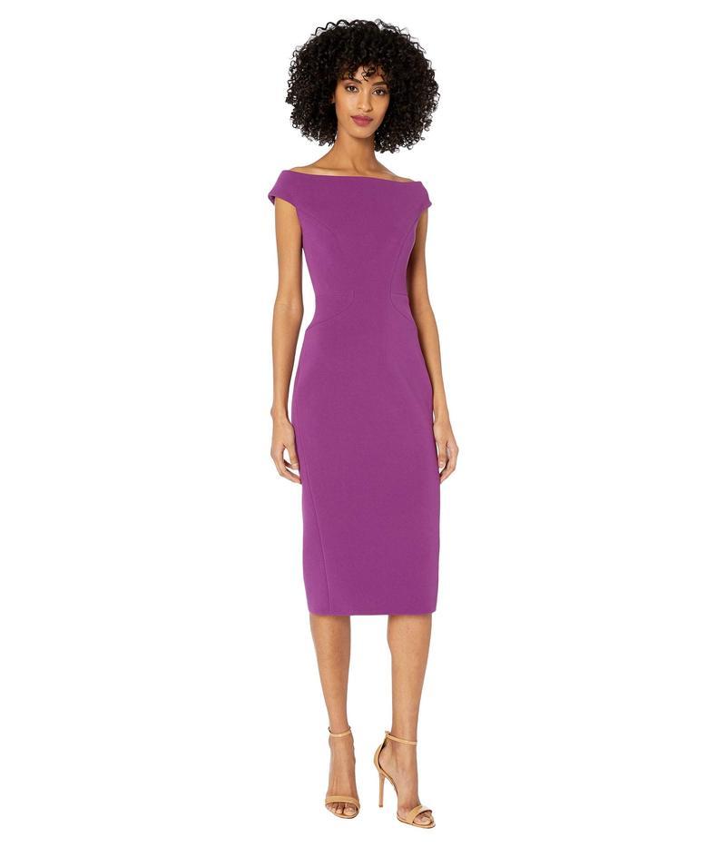 ザックポーゼン レディース ワンピース トップス Bonded Crepe Off-the-Shoulder Fitted Dress Royal Purple