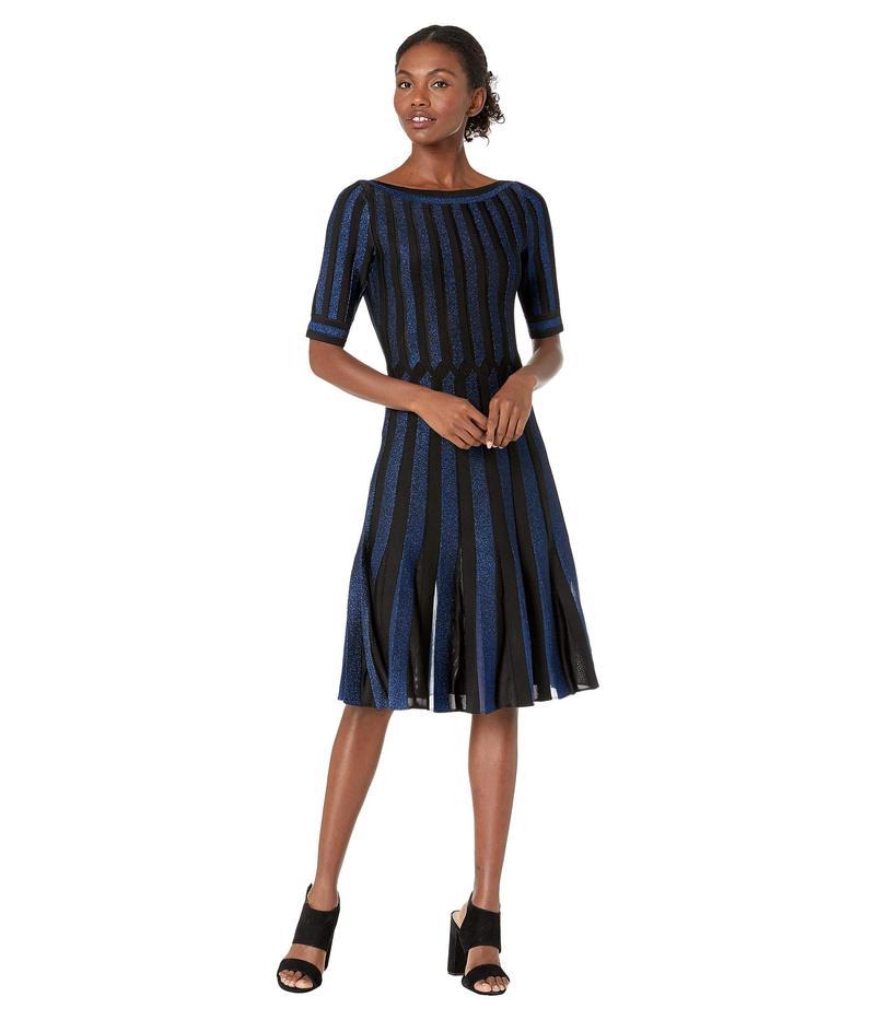 ザックポーゼン レディース ワンピース トップス Contrast Cross Cable Knit Fit-and-Flare Dress Black/Royal Blue