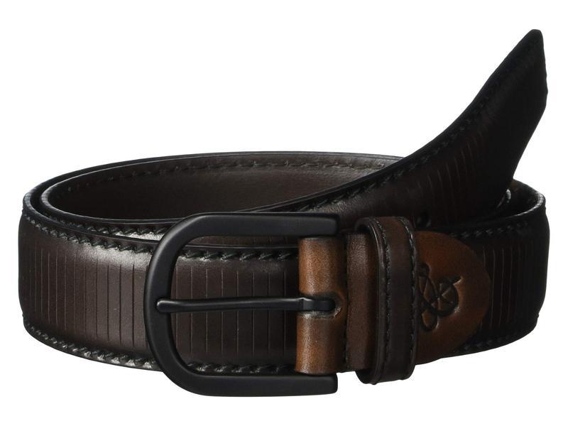 カナーリ メンズ ベルト アクセサリー Vertical Engraved Calfskin Adjustable Belt Brown
