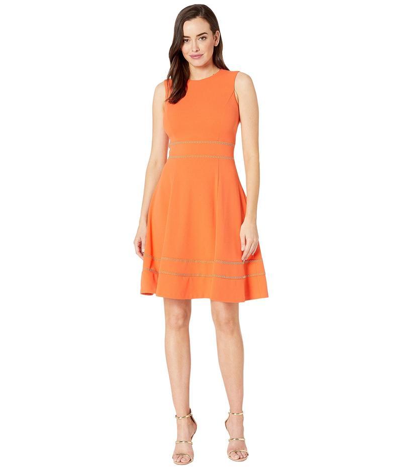 カルバンクライン レディース ワンピース トップス A-Line Dress w/ Embellishment at Waist and Hem Ember