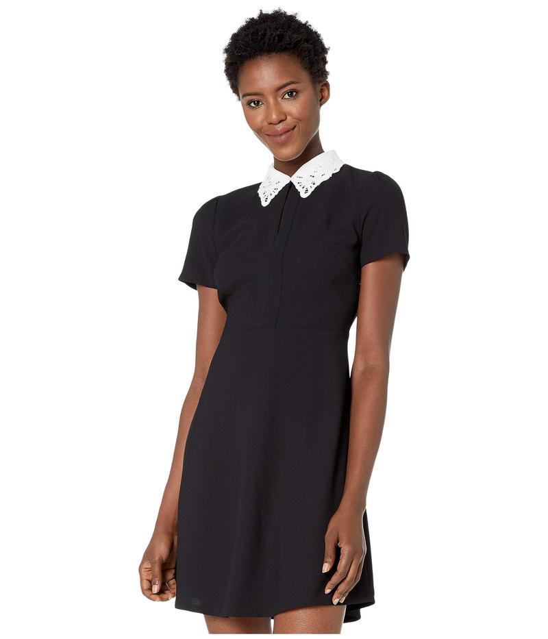セセ レディース ワンピース トップス Short Sleeve Embroidered Collar Moss Crepe Dress Rich Black