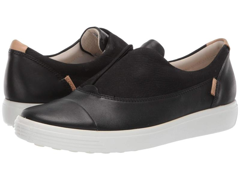エコー レディース スニーカー シューズ Soft 7 Slip-On II Black/Black Cow Leather/Cow Nubuck