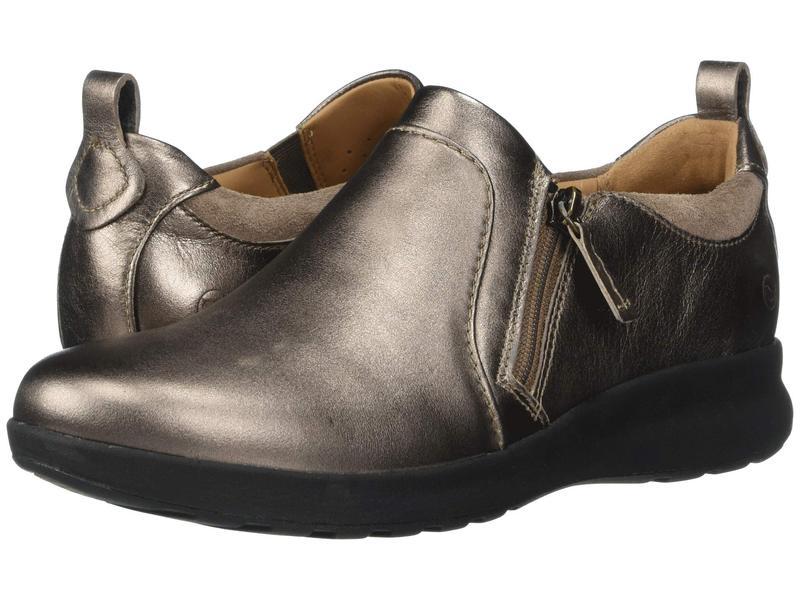 クラークス レディース スニーカー シューズ Un Adorn Zip Pebble Metallic Leather/Suede Combi
