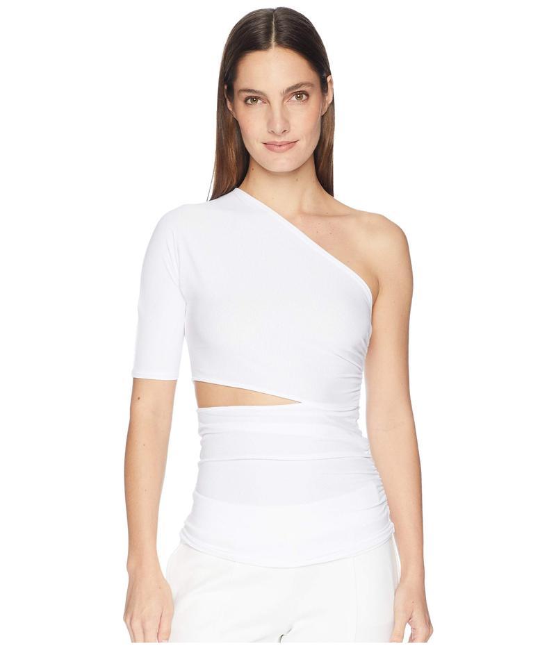 クシュニーエオクス レディース シャツ トップス Narcissa One Shoulder Short Sleeved Top with Cut Out At Waist White
