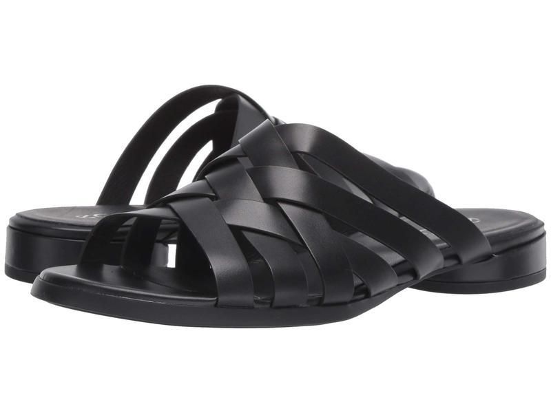エコー レディース サンダル シューズ Flat Slide Sandal Black Calf Leather