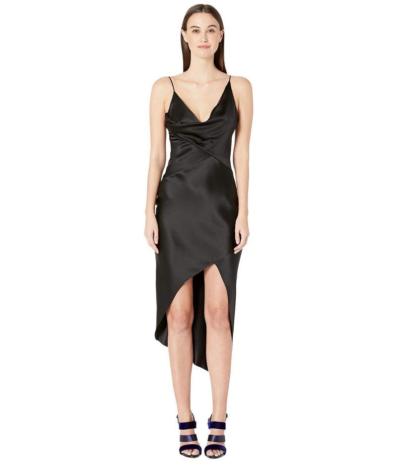 クシュニーエオクス レディース ワンピース トップス Sleeveless Wrap Around Dress with Front Cowl and Chiffon Black
