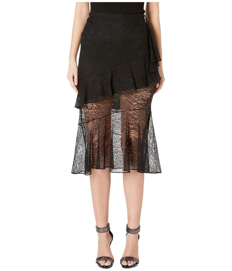 クシュニーエオクス レディース スカート ボトムス High-Waisted Midi Length Lace Skirt Black