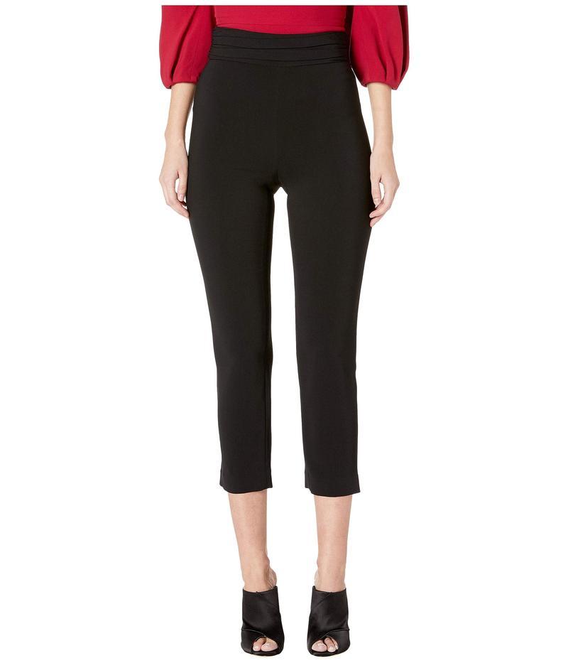 クシュニーエオクス レディース カジュアルパンツ ボトムス High-Waisted Fitted Pants with Gathered Waistband Black