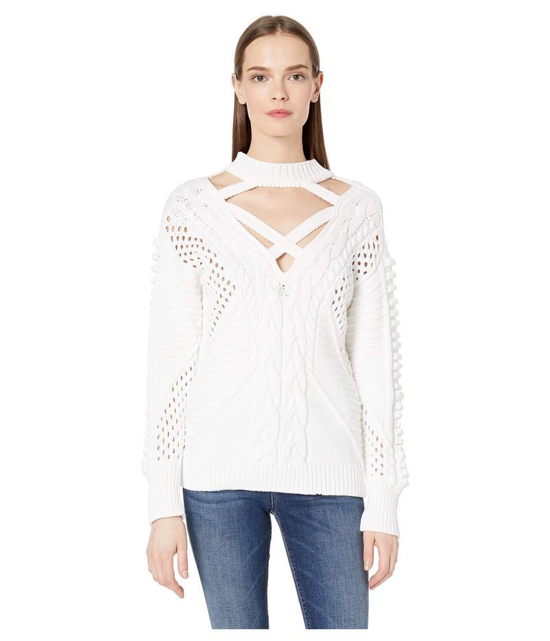 クシュニーエオクス レディース ニット・セーター アウター Long Sleeved Crew Neck Cable Knit Sweater White