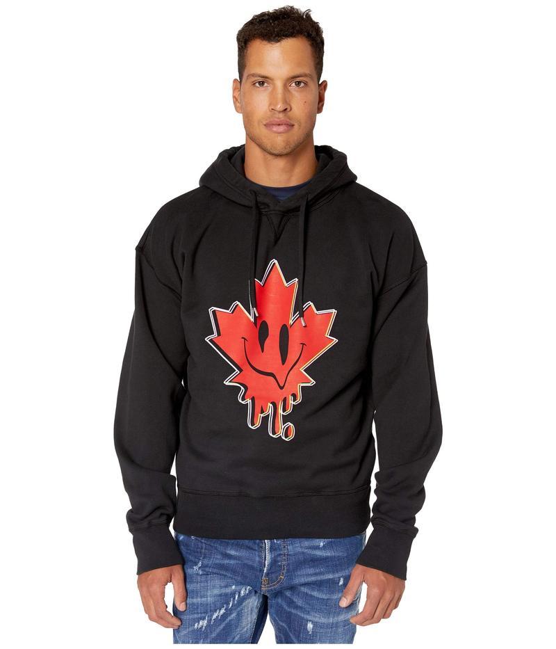 ディースクエアード メンズ パーカー・スウェット アウター Acid Maple Leaf Hoodie Sweatshirt Black